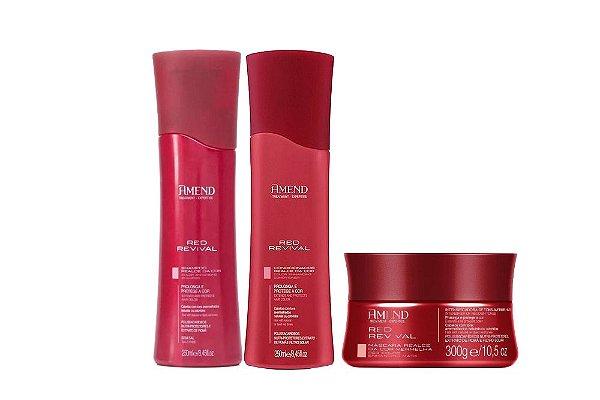 Kit Amend Shampoo + Condicionador + Máscara Realce Red