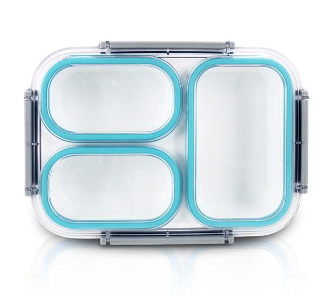 Jacki Design Pote Marmita Com 3 Compartimentos Cor Azul 1350ml