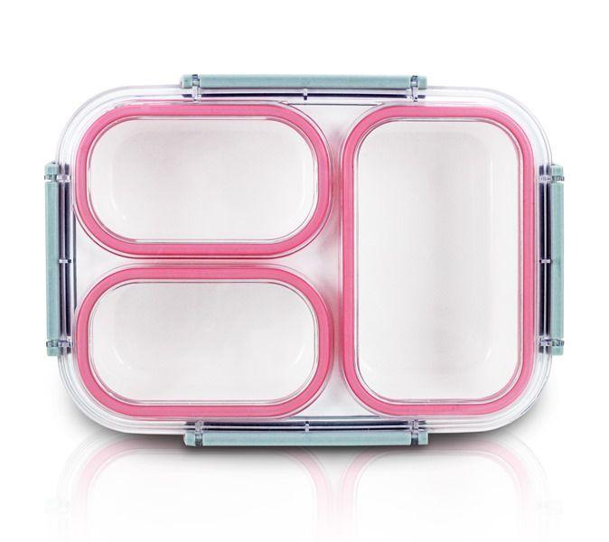 Jacki Design Pote Marmita Com 3 Compartimentos Cor Pink 1350ml