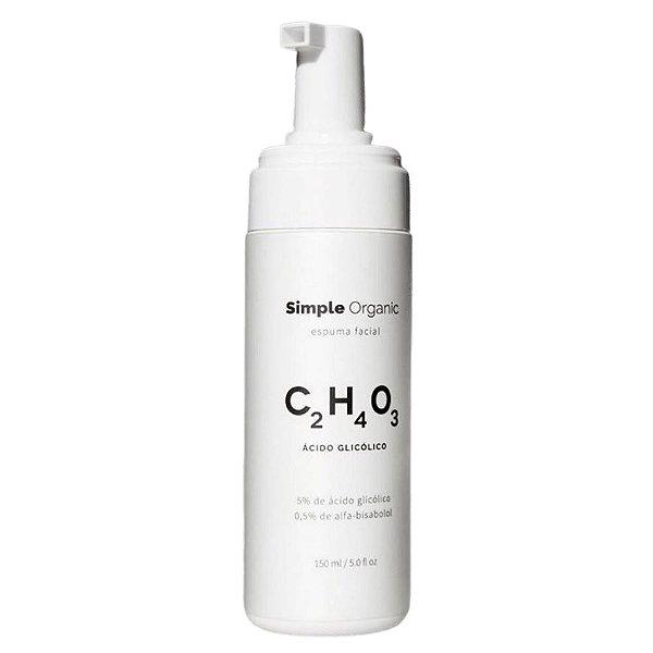 Simple Organic Espuma Facial de Ácido Glicólico 150ml