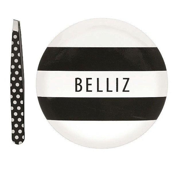 Belliz Kit Espelho com Pinça Black e White