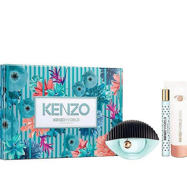 Kenzo Kit Coffret World Eau de Parfum 75ml + Caneta 10ml + Body Milk 75ml