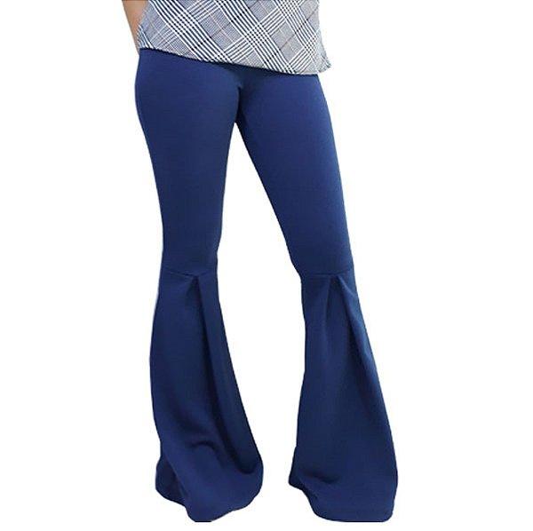 c3783053c Calça Flare Cintura Alta ( Hot Pants ) com Prega na Abertura - Azul