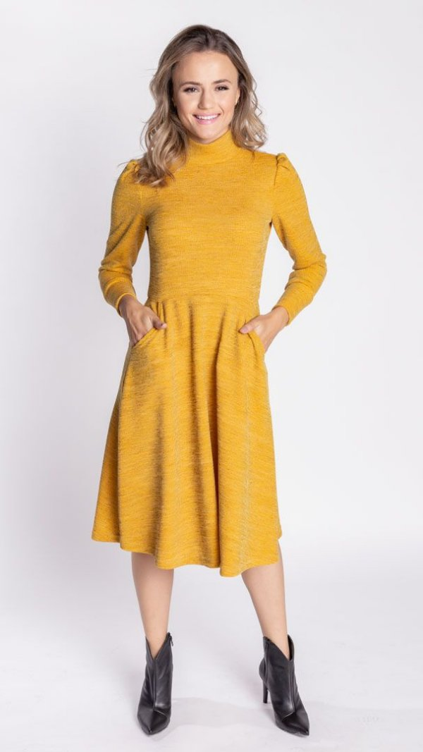 Vestido Feminino Tricô Medi Talita - Amarelo