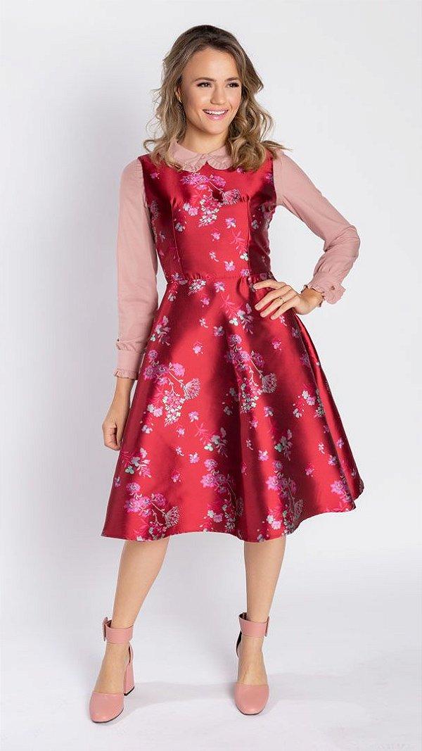 Vestido Feminino Midi Antonela - Vermelho  (Pré-Venda)