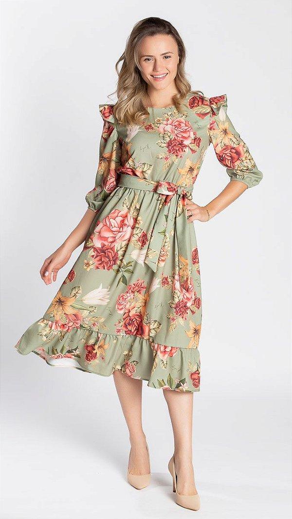 Vestido Feminino Rute Floral - Verde