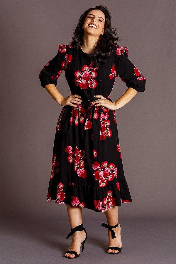 Vestido Feminino  Rute Floral Preto