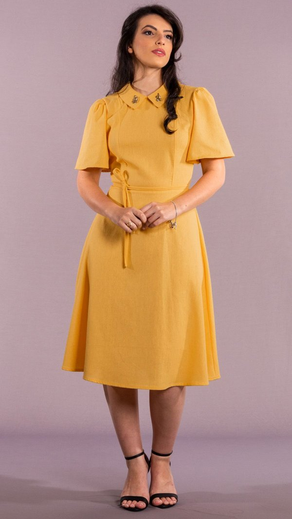 Vestido Feminino Ester Mídi com Gola Bordada - Amarelo
