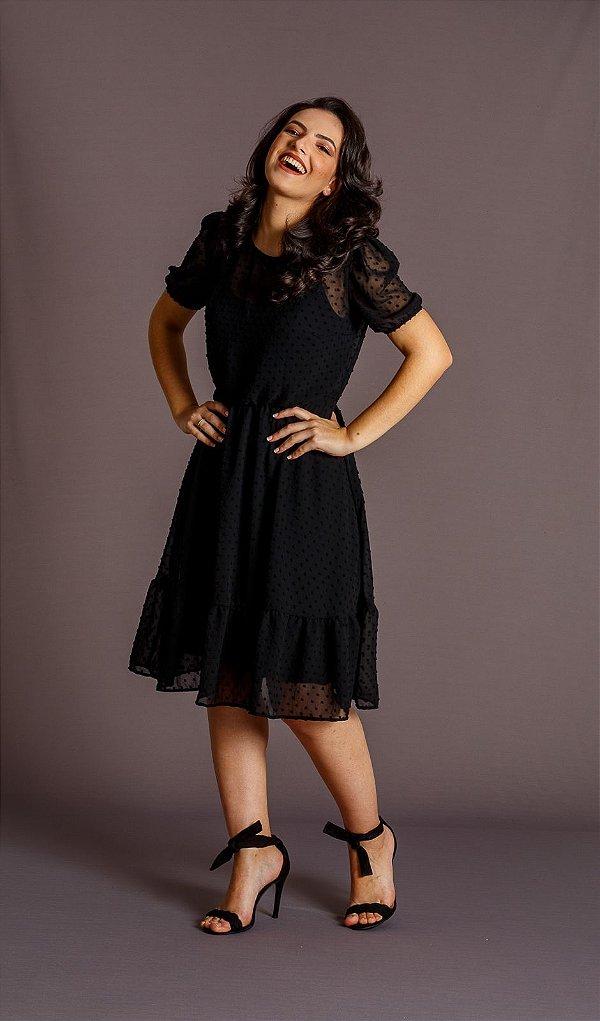 Vestido Feminino Luana Chiffon de Poá