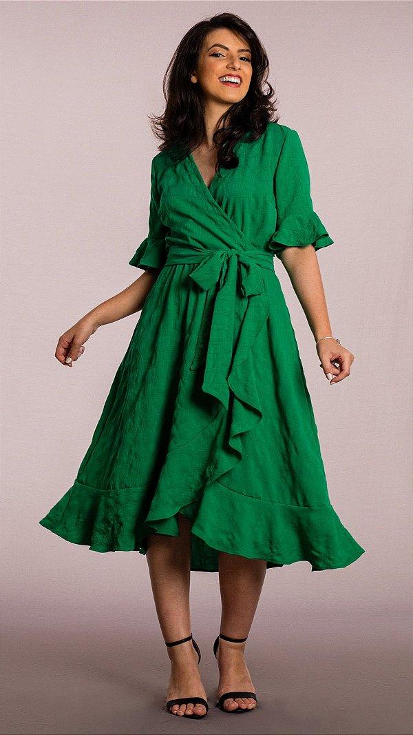 Vestido Feminino Transpassado Verde Rosane