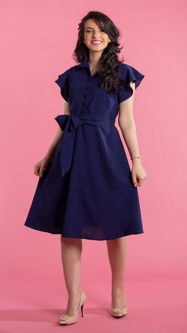 Vestido Feminino Cintia Plus Size Azul