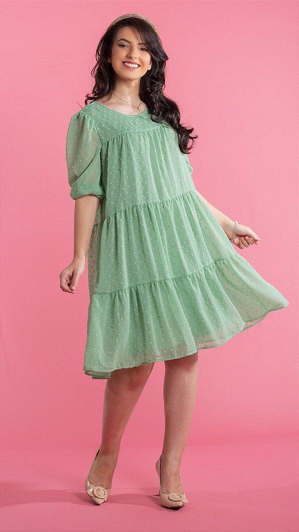 Vestido Feminino Chifon de Poá  Forrado Melissa -  Verde