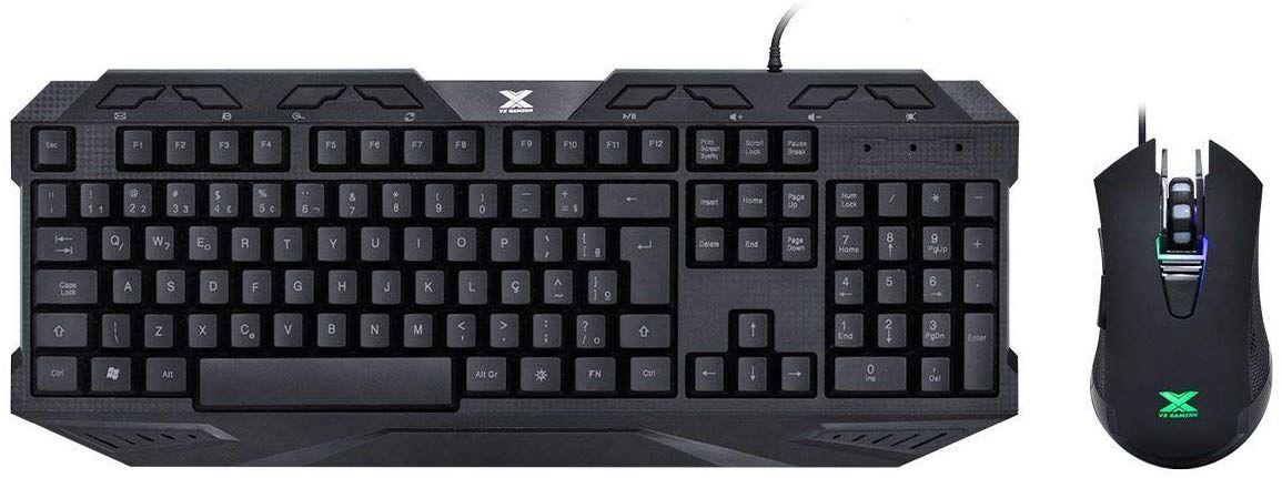 Teclado E Mouse Gamer VX Gaming Kraken, Mouse 2400 Dpi Led 3 Cores Cabo Usb 1.8 Metros, Vgc-02, Vinik, 30090