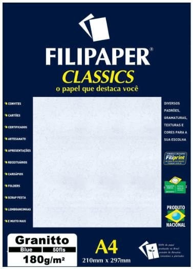 Papel Granitto A4 Filipaper Classics 180g 50 Folhas Palha