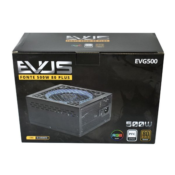 Fonte Evus BRONZE-500W, Gamer 500w 80 Plus - LED RGB