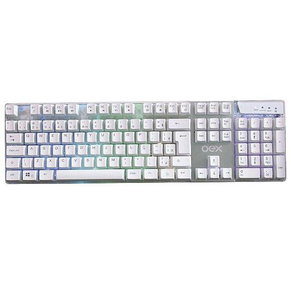 Teclado OEX Game Prismatic, LED, ABNT2, Branco - TC205