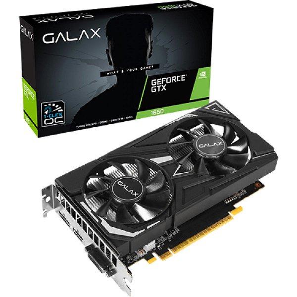 Placa de Vídeo Galax, GeForce, GTX 1650 EX, 1-Click OC, 4GB, GDDR6, 128Bit, 65SQL8DS66E6