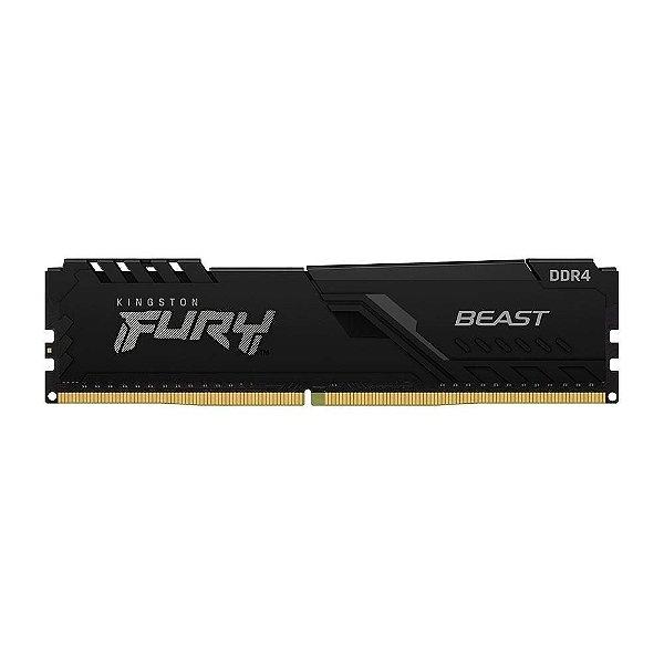 Memória Kingston Fury Beast, 8GB, 2666MHz, DDR4, CL16, Preto - KF426C16BB/8
