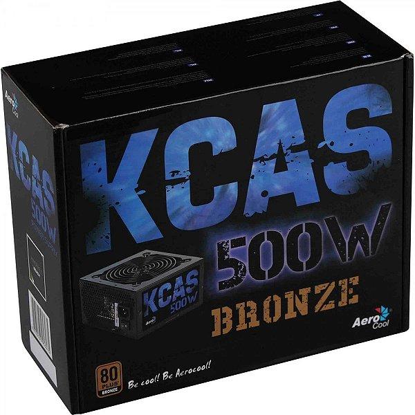 Fonte Aerocool KCAS 500W, 80 Plus Bronze, PFC Ativo, 59765