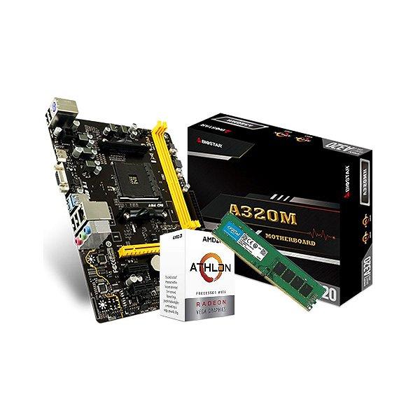Kit Upgrade AMD -Athlon 3000g Two Core, Cache 5MB, 3500MHz / Biostar A320M , AMD AM4 / Crucial 8GB, 2666MHz, DDR4