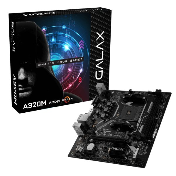 Placa Mãe Galax A320M, Chipset A320, AMD AM4, mATX, DDR4, AA320MAGL01BW