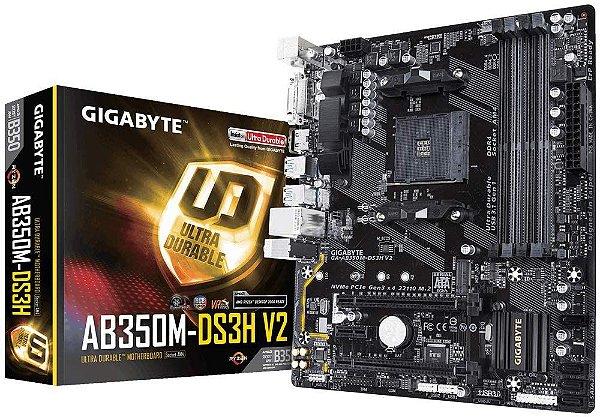 Placa Mãe Gigabyte GA-AB350M-DS3H V2, Chipset B350, AMD AM4, mATX, DDR4
