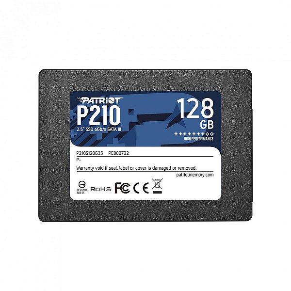 SSD Patriot P210, 128GB, Sata III, Leitura 500MB/s e Gravação 400MB/s, P210S128G25