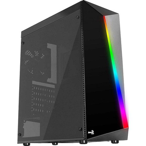Gabinete Gamer Aerocool, Shard RGB, Mid Tower, Acrílico, Black, 67989, Sem Fonte, Com 1 Fan