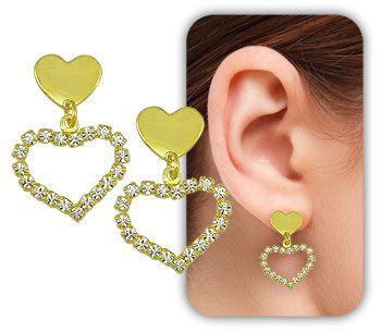Brinco folheado a ouro 18k  c/ coração de chapa e coração de strass - BS2763