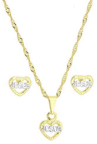 Conjunto  c/ corrente, brincos e pingente em forma de coração escrito Jesus folheado a ouro - BG0808