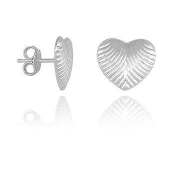 Brinco em forma de coração c/ estampa folheado prata- BS2864 P