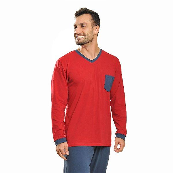 Pijama Longo Inverno Algodão Azul e Vermelho Masculino