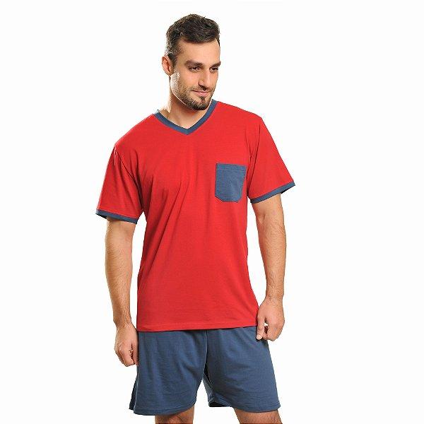 Pijama Curto Algodão Azul e Vermelho Masculino