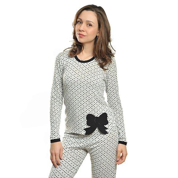 Pijama Longo Poá Laço Feminino