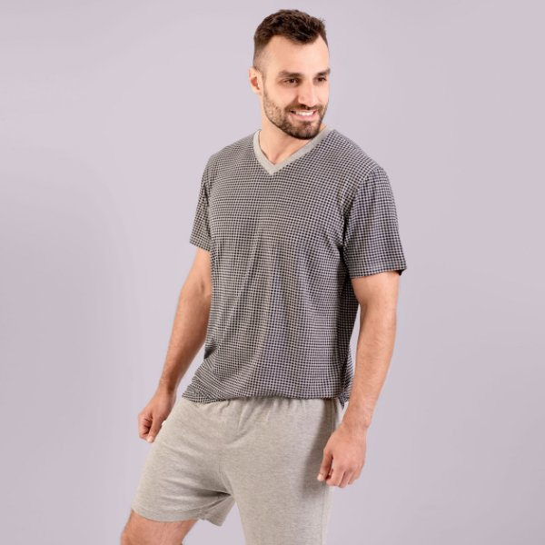 Pijama Curto Masculino Xadrez Cinza Mescla Verão