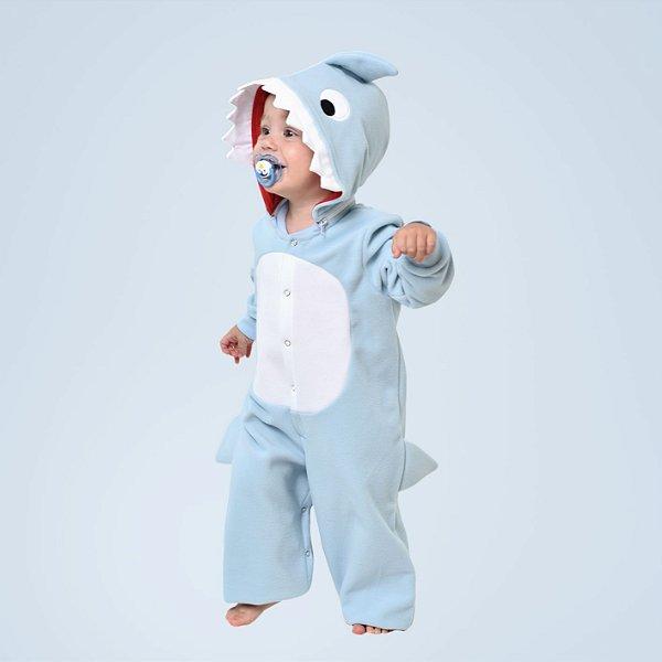Pijama Inverno Bebê Baby Shark Macacão com capuz Azul