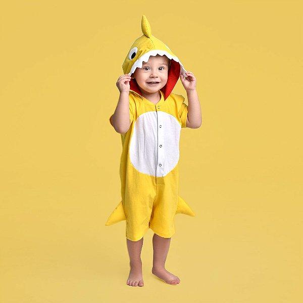 Pijama Infantil Baby Shark Amarelo