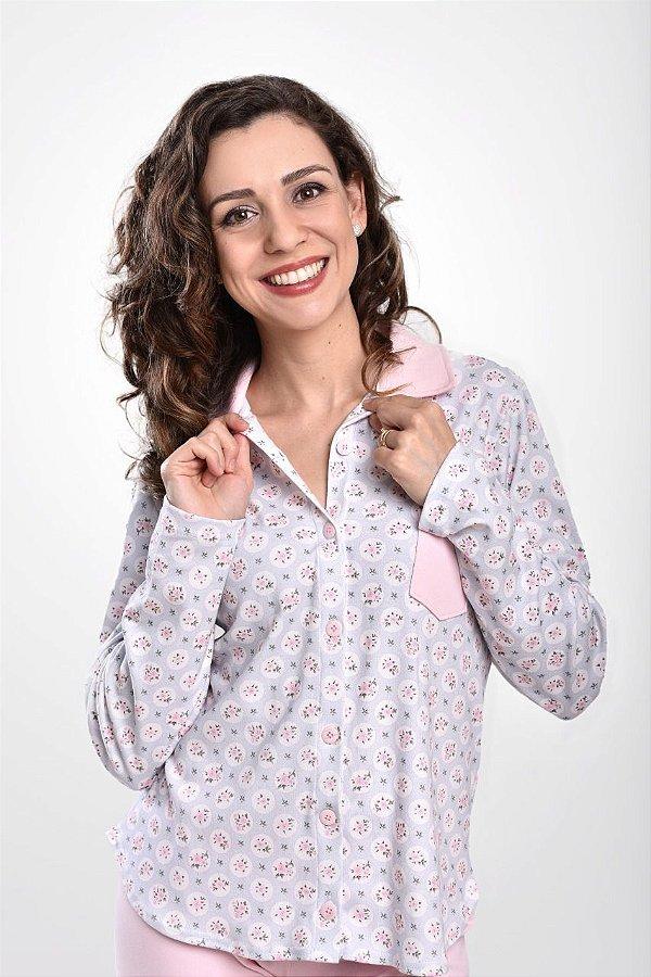 Pijama Com Botão Para Amamentação Flor Rosê