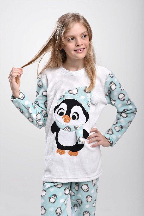 Pijama Inverno Pinguim Micro Soft Infantil