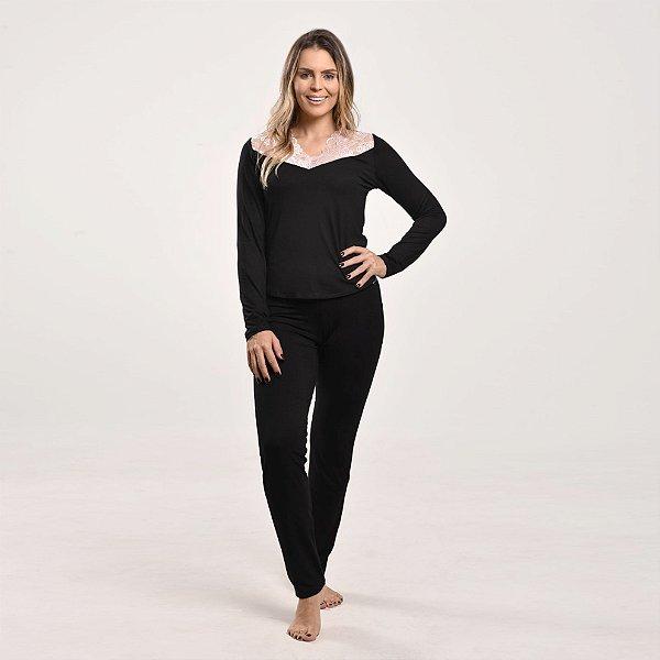 Pijama Ajustado com Renda Preto/Rosa