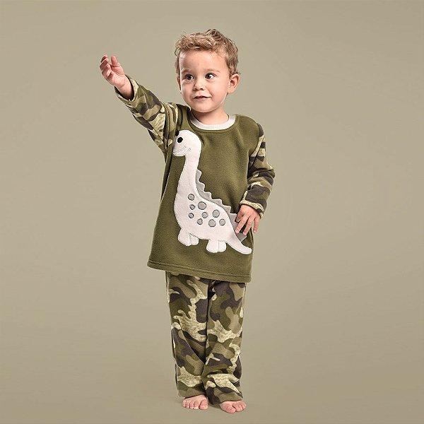 Pijama Inverno Soft Camuflado Dinossauro Filho - Modelo Família