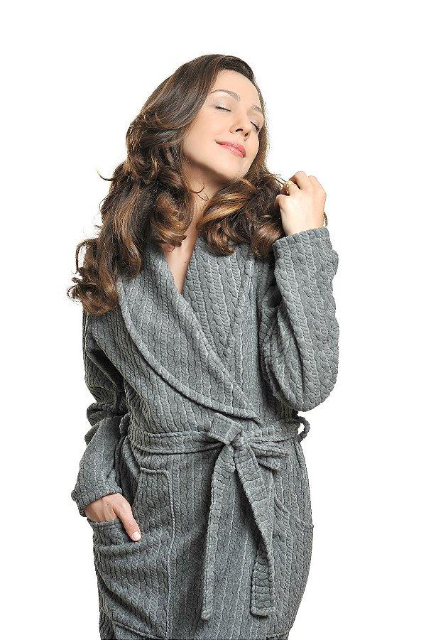 Roupão Feminino Bolso e Gola Soft Tweed CINZA MESCLA