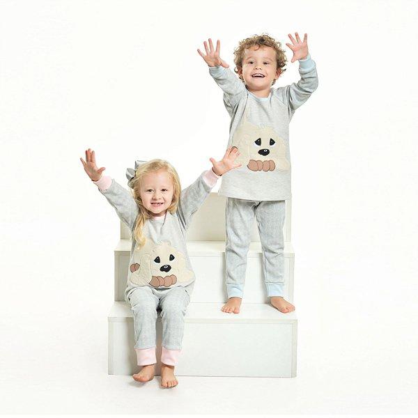 Pijama Algodão Cachorro Xadrez - Modelo Família Filhos