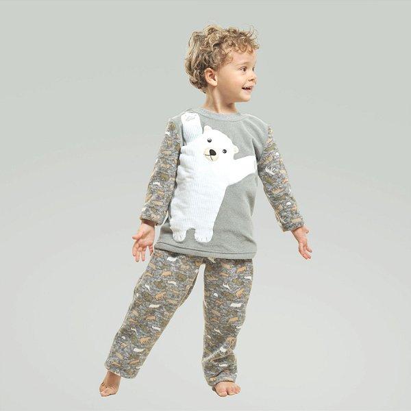 Pijama Masculino de Inverno Soft Urso Polar