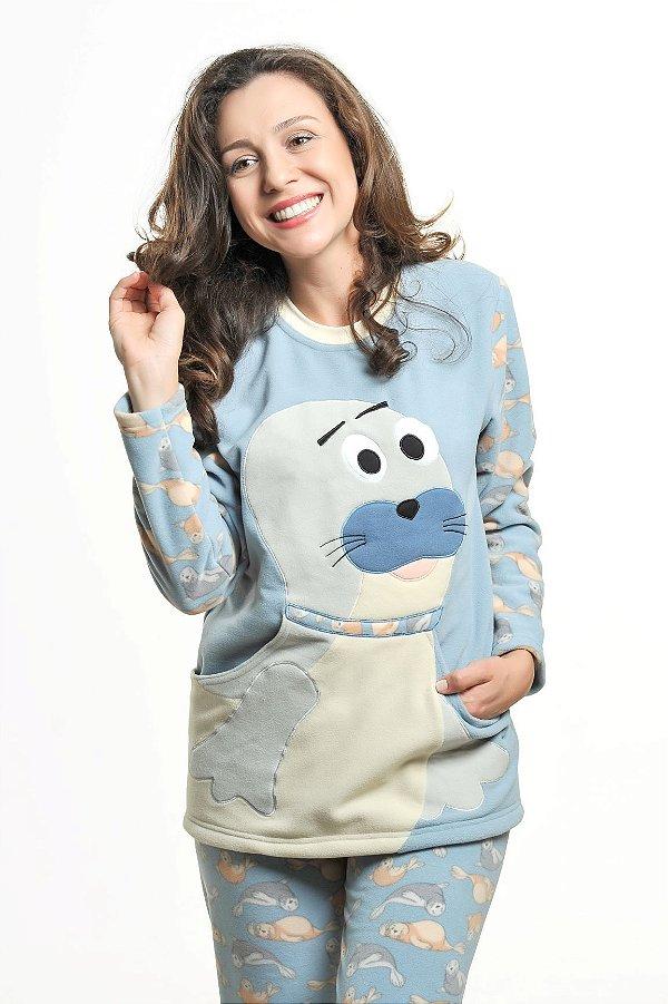 Pijama Inverno Soft Foca com Bolso - Modelo Família Mãe