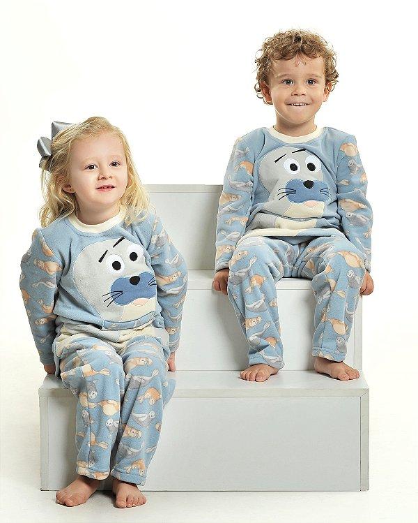 Pijama Inverno Soft Foca com Bolso - Modelo Família