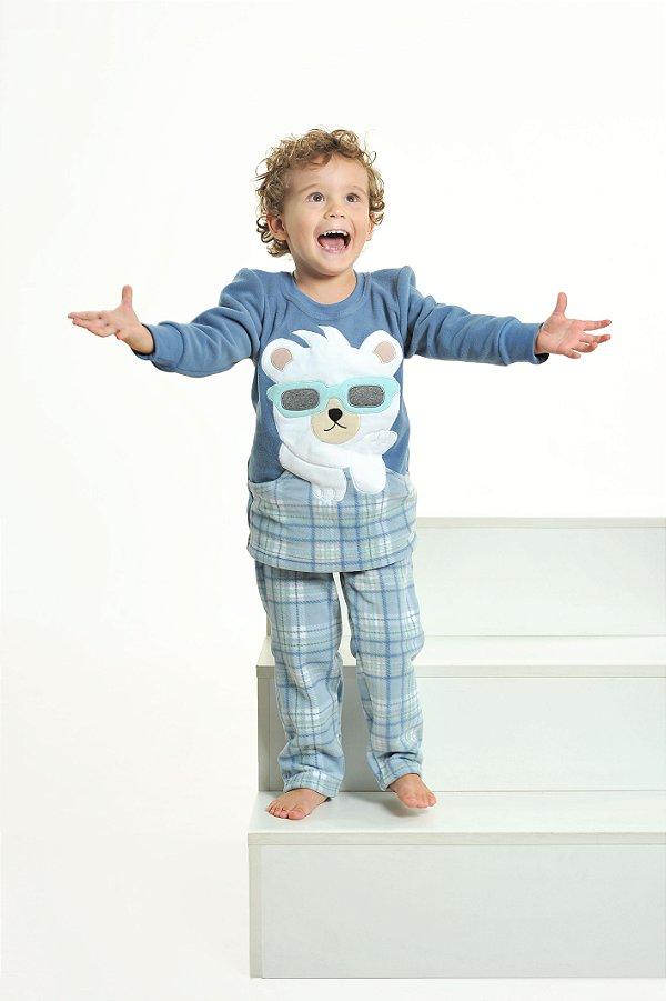 Pijama Longo Soft Urso De Óculos Infantil Masculino - MODELO FAMÍLIA