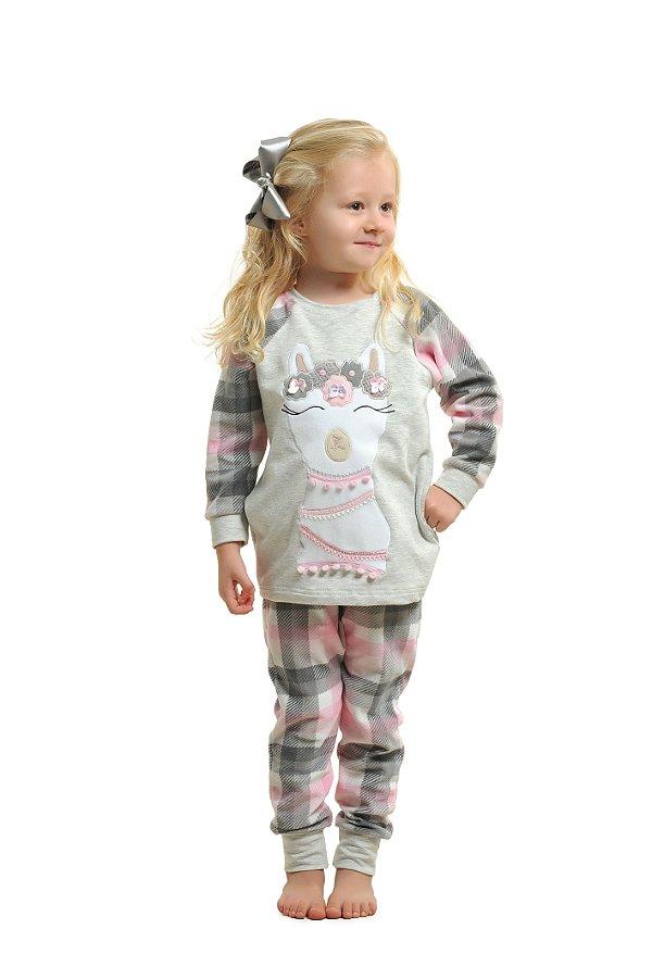 Pijama Longo Lhama Plush Infantil - Modelo Família