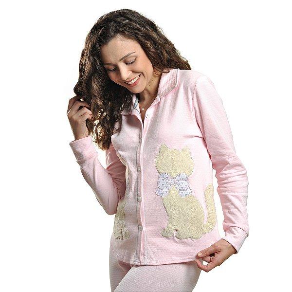 Pijama Abotoado Inverno Amamentação Bublle Rosa bebê com gato