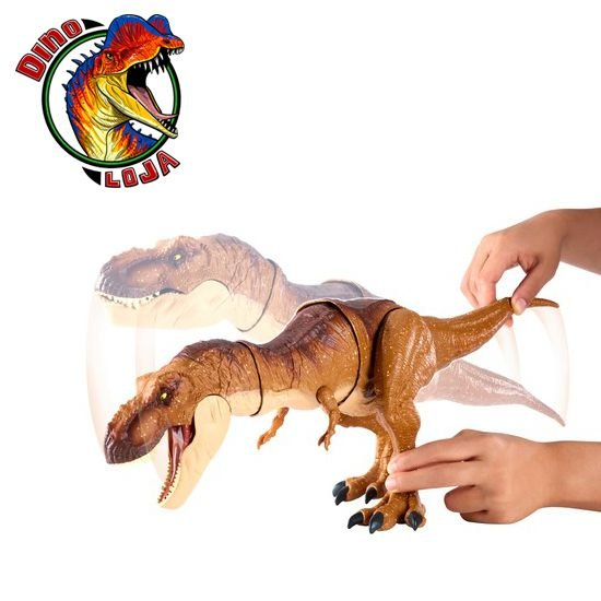 TIRANOSSAURO REX ELETRÔNICA  THRASH AND THROW JURASSIC WORLD FALLEN KINGDOM MATTEL
